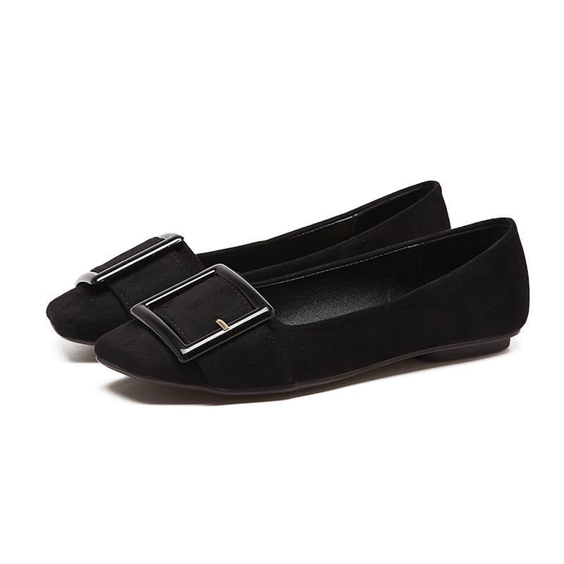Soft Comfortable Suede Metal Belt Buckle Flat Shoes For Women - fashionshoeshouse