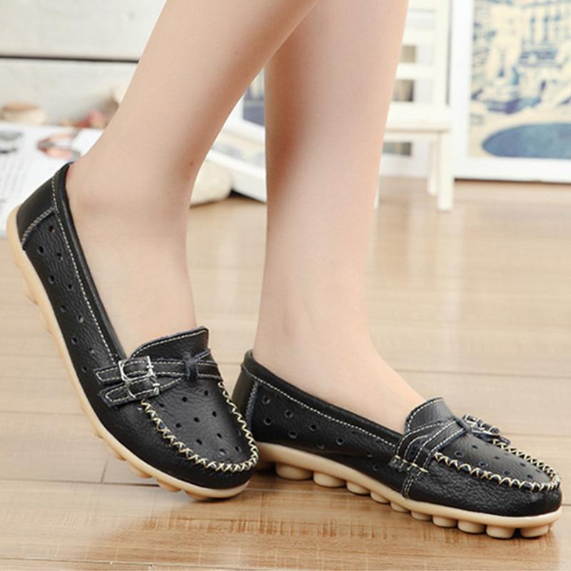 Hollow Out Breathable Women Driving Loafers Spring Summer Series - fashionshoeshouse