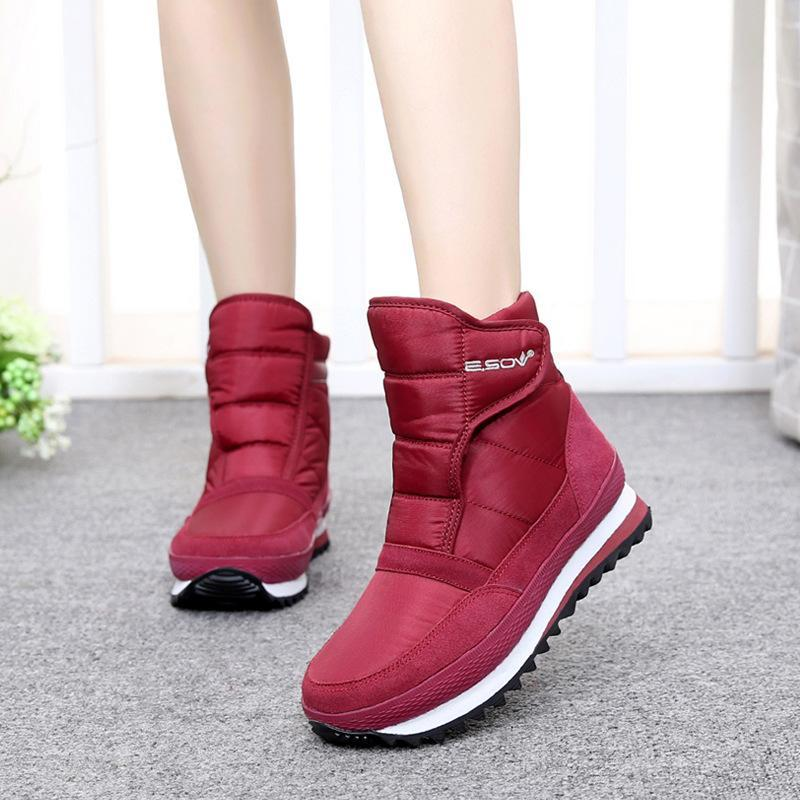 Hook Loop Waterproof Antiskid Fur Lining Snow Boots For Women - fashionshoeshouse