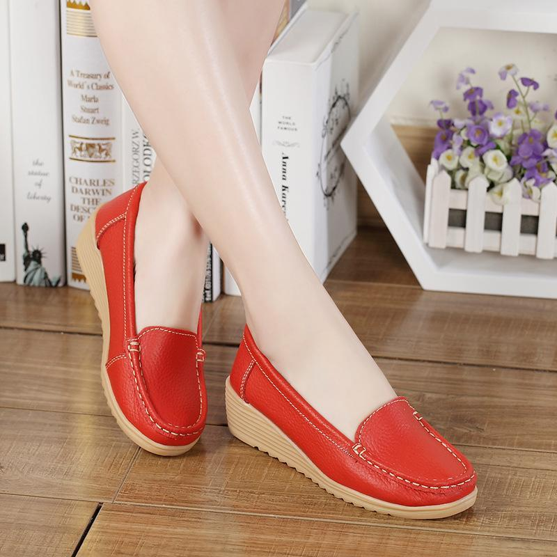 Non-slip Leather Loafers for Women Comfort Walking Spring Series Casual Shoes - fashionshoeshouse