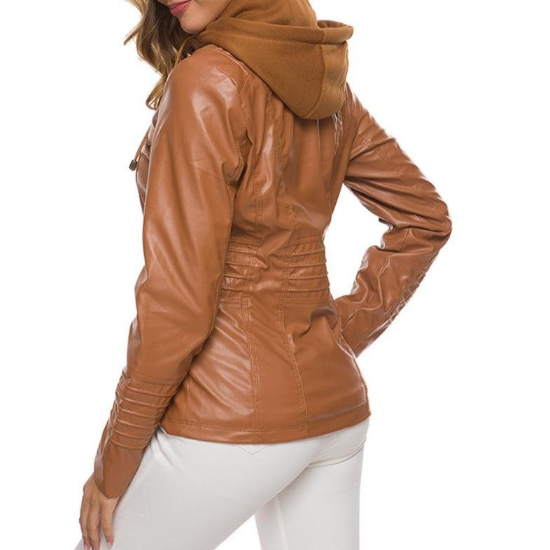 Women's detachable hooded motorcycle jacket fashion basic jacket windproof