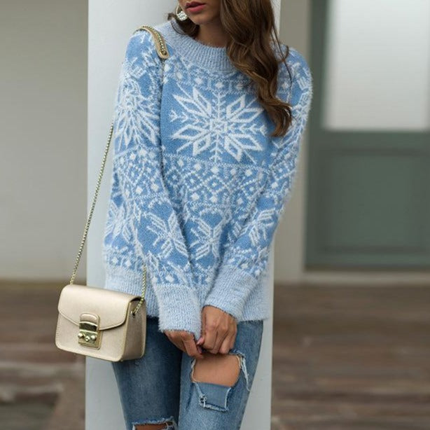 Women Christmas Snowflake Knit Sweater - fashionshoeshouse