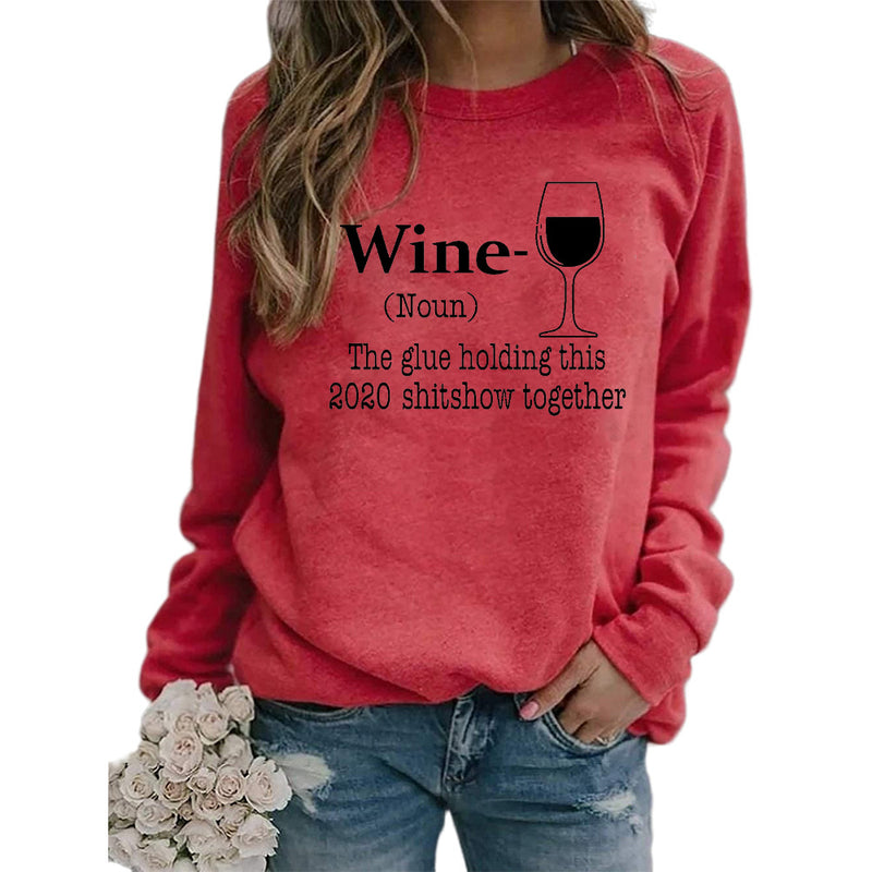 Women's wine glass printed Christmas sweatshirts fall/winter long sleeve pullover tops