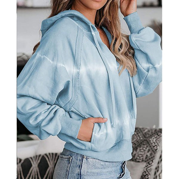 Women's fashion tie dye hoodie with pocket V neck drawstring sweatshirt