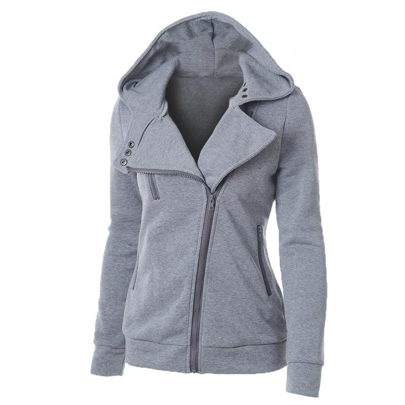 Women Diagonal Zipper Winter Fur Lining Hooded Sweatshirt - fashionshoeshouse
