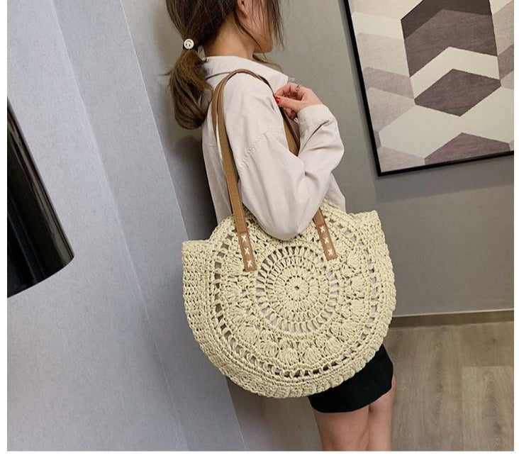 Women Summer Hollow Handbags Straw Beach Bags Bohemian - fashionshoeshouse