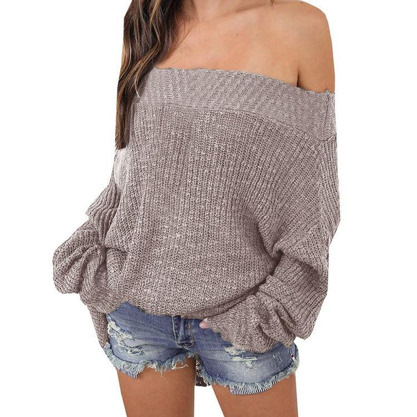 Women Off Shoulder Batwing Plus Size Sweaters - fashionshoeshouse
