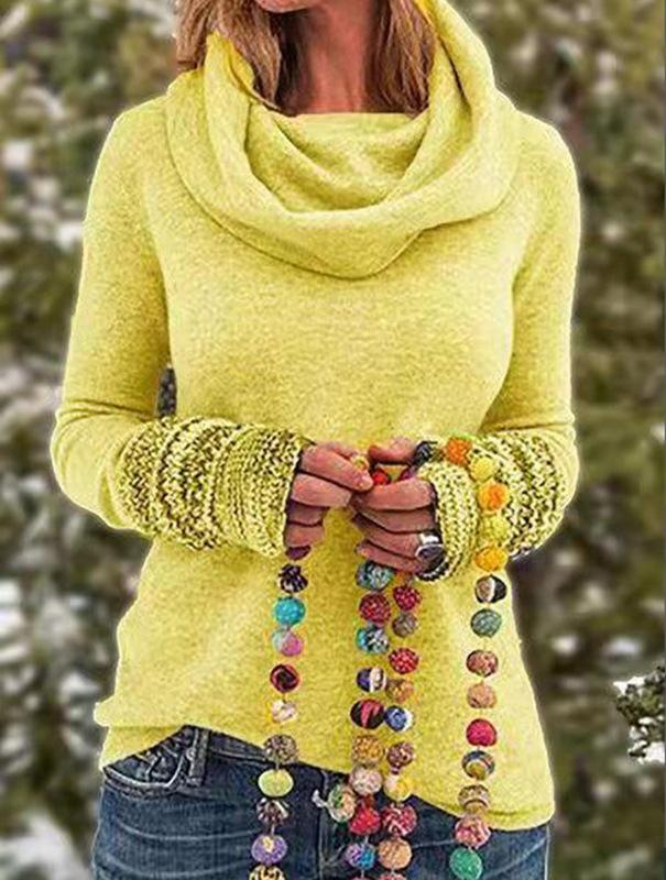 Plus Size Tribal Vintage Long Sleeve Cowl Turtle Neck Sweater - fashionshoeshouse