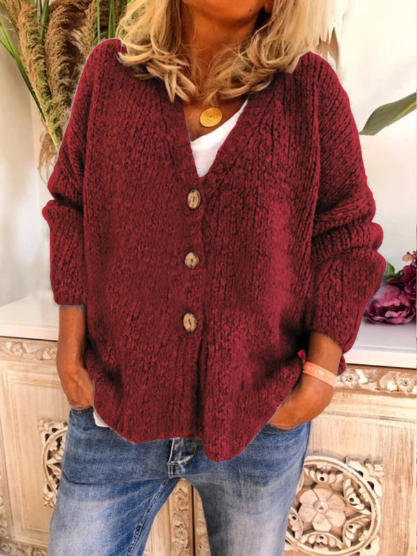 Women's button up cardigan sweater solid color fashion knitted sweater