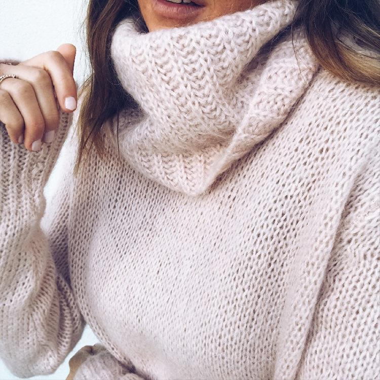 Solid Knit Long Sleeve Turtleneck Sweaters For Women - fashionshoeshouse