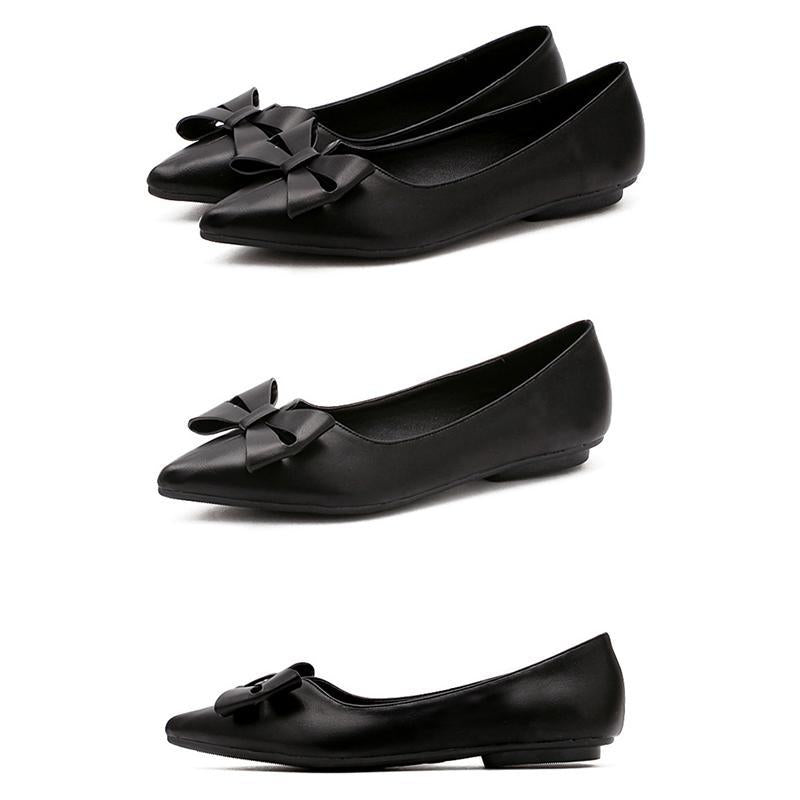 Bowknot High Quality Casual Shallow Flat Shoes For Women - fashionshoeshouse