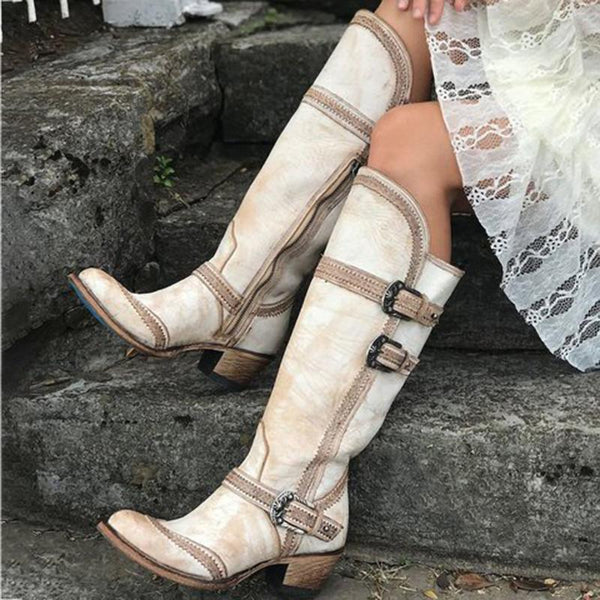 Women Buckle Strap Chunky Wide Calf White Boots - fashionshoeshouse