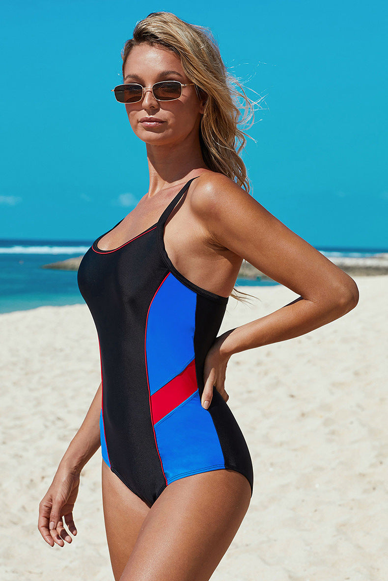 Triangle Bathing Suits Color Block Cover Belly One Piece Swimsuit - fashionshoeshouse