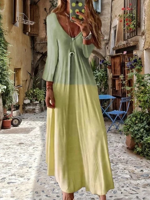 Women Gradient Casual V Neck Long Sleeve Maxi Dress - fashionshoeshouse