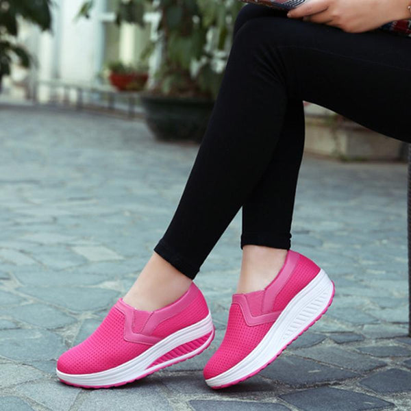Summer Mesh Round Toe Pink Platform Loafers For Women - fashionshoeshouse