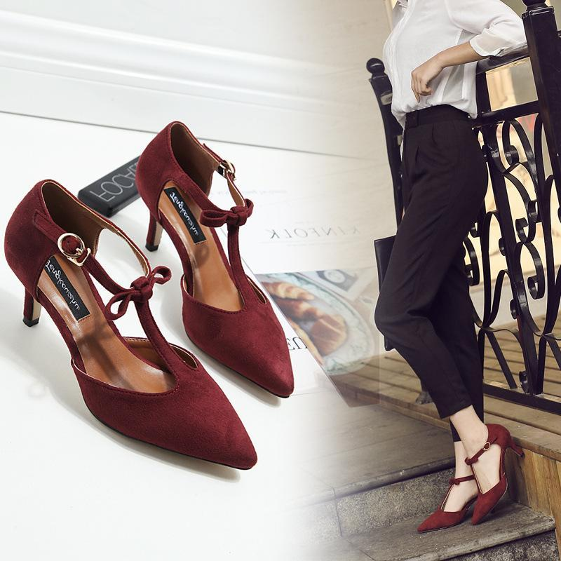 Suede Bowknot T Type Strap Bukle Fashion Heels For Women - fashionshoeshouse
