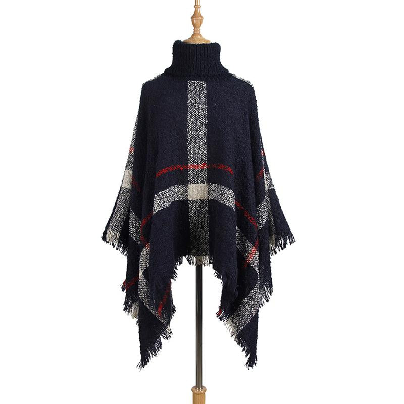 Women Color Block Turtle Shawl Collar Sweater - fashionshoeshouse