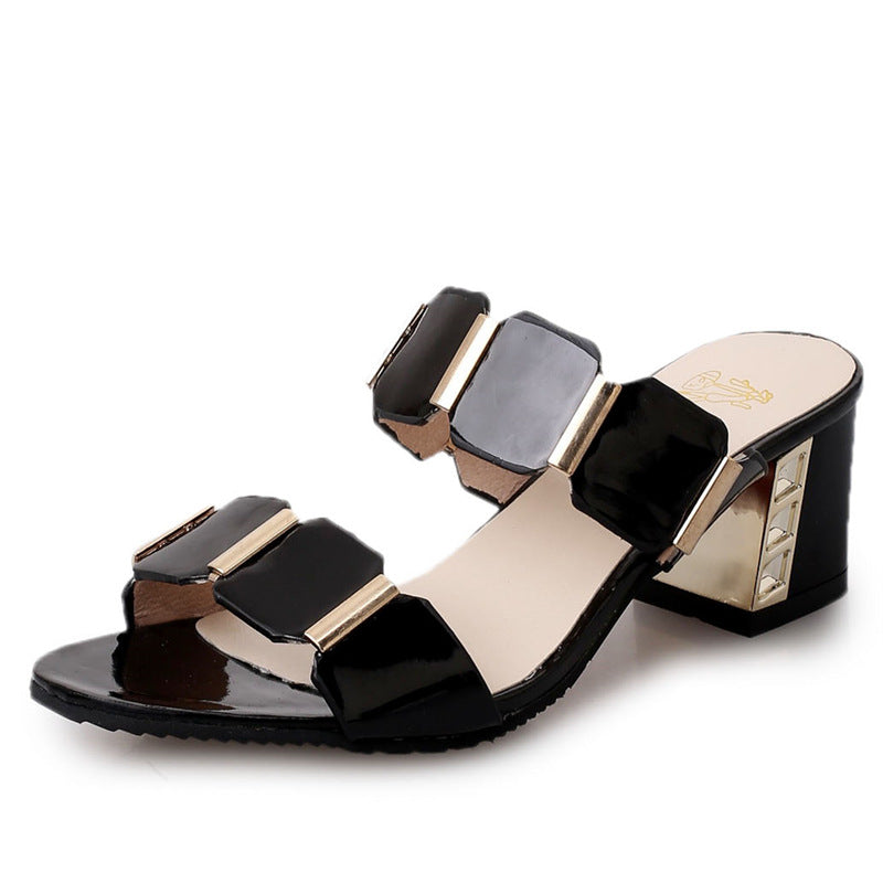 Women Chunky Heel Two Strap Slides Sandals - fashionshoeshouse
