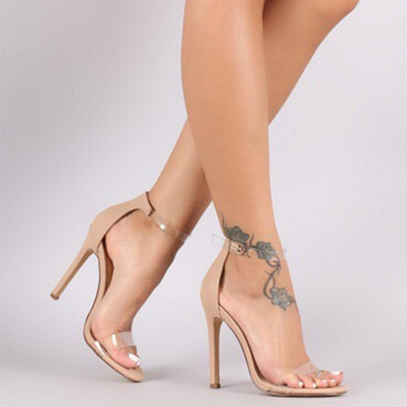 Transparent Round Ankle Strap Women Black Sandals - fashionshoeshouse