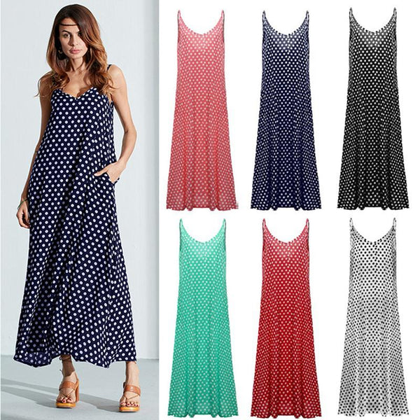 Summer Big Swing Dot Maxi Dress - fashionshoeshouse