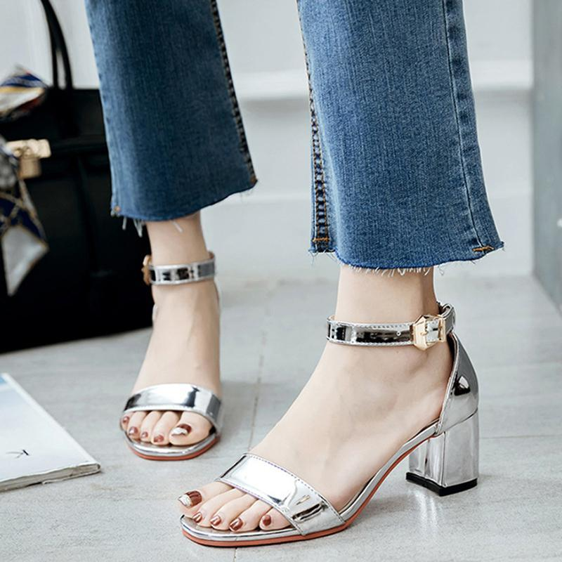 Champagne Patent Leather Summer Chunky Women Sandals - fashionshoeshouse