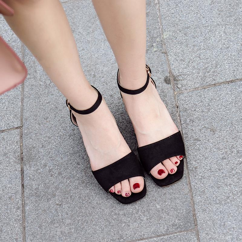 Summer Fashion Thick Heel Bukle Sandals For Women - fashionshoeshouse