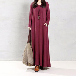 Linen Pure Color Long Sleeve Maxi Dress - fashionshoeshouse