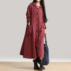 Linen Long Sleeve Midi Dress - fashionshoeshouse