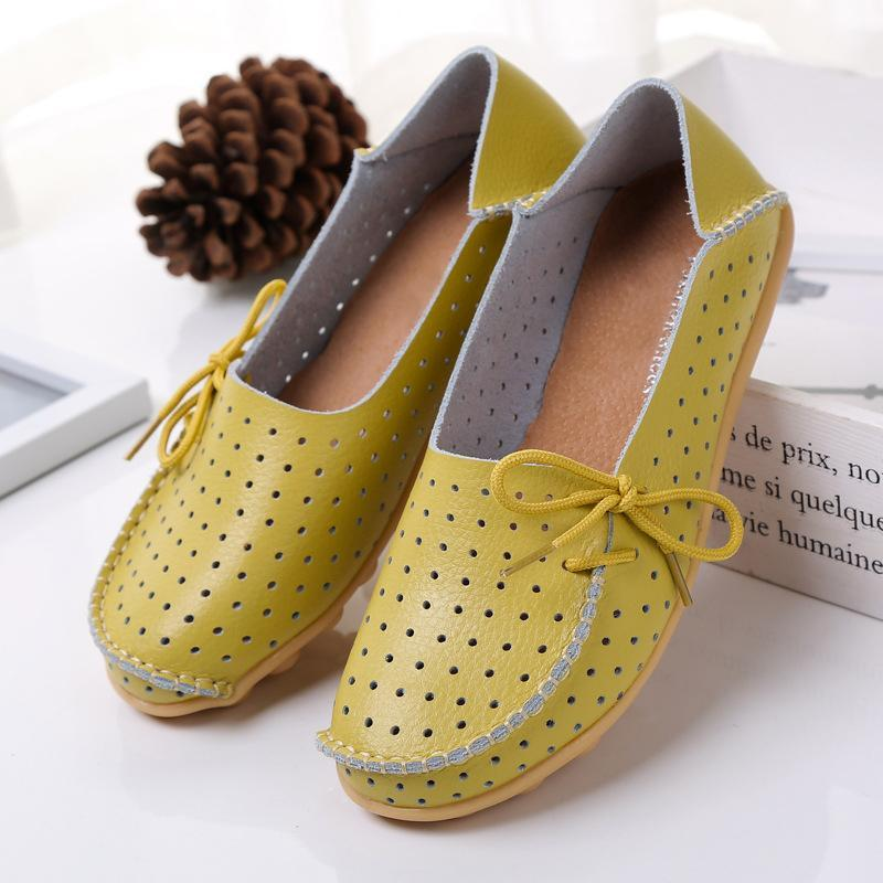 Summer Hollow Out Breathable Flat Shoes for Women Side Lace Up Flats - fashionshoeshouse
