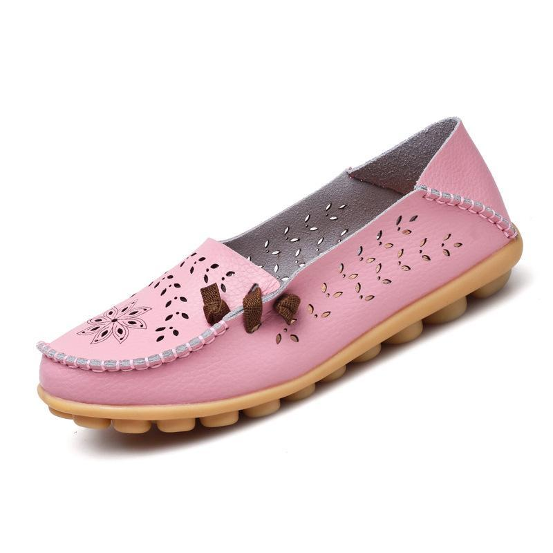 Pink Hollow Out Breathable Loafers for Women Soft Outsole for Comfort Walking - fashionshoeshouse