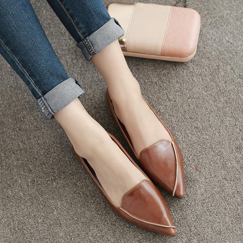 Vintage Pointed Toe Shallow Slip On Flat Shoes For Women - fashionshoeshouse