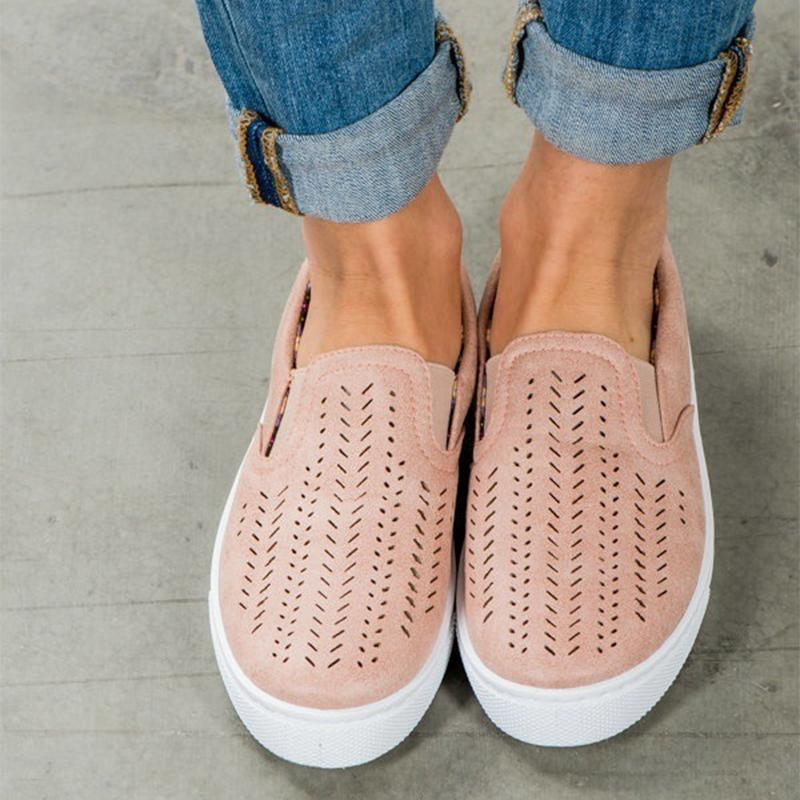 Casual Soft Bottom Hollow Flat Loafers - fashionshoeshouse