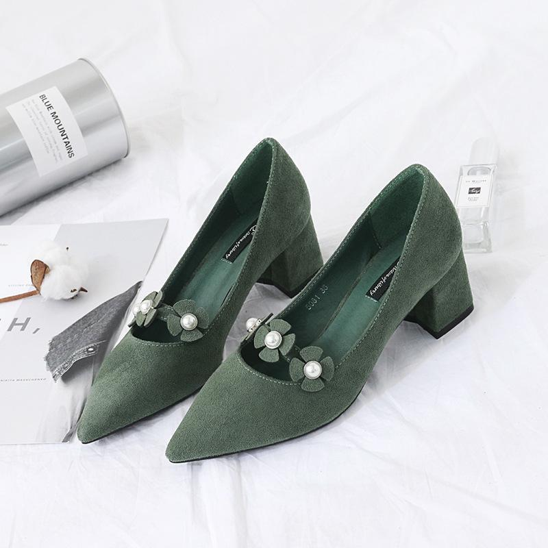 Green Beautiful Flowers Faux Pearl Decorated Heels For Women - fashionshoeshouse