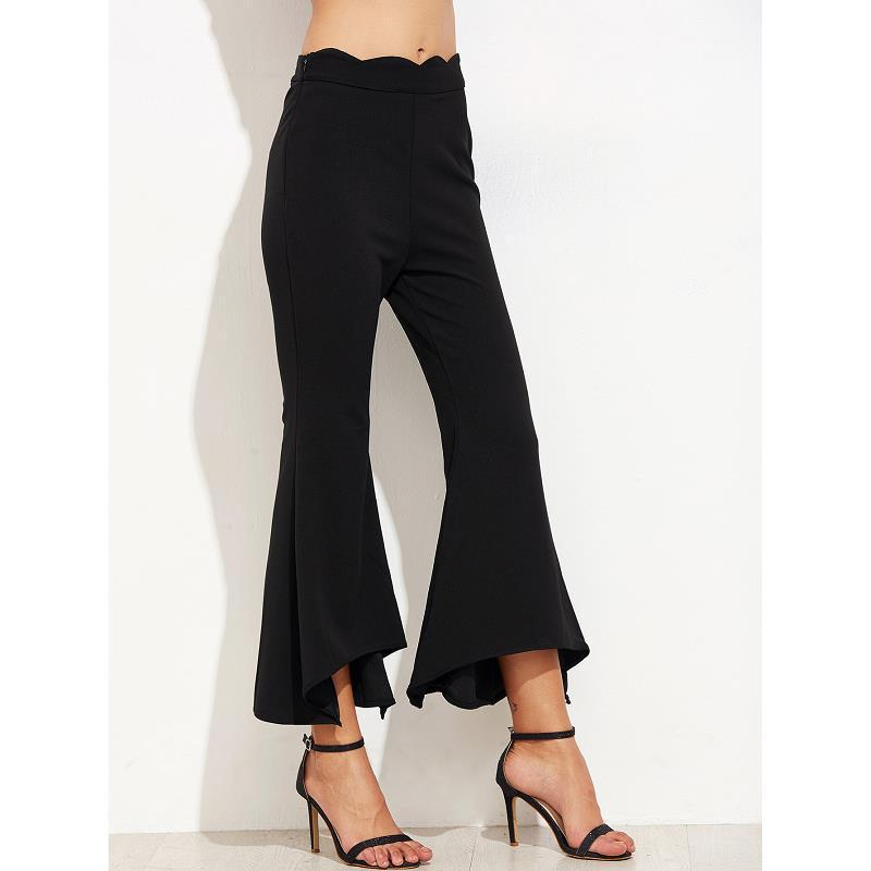 Women's Fitted High Waisted Black Flared Pants - fashionshoeshouse