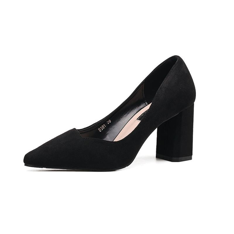 Concise Suede Pointed Toe Chunky Black Heels For Women - fashionshoeshouse