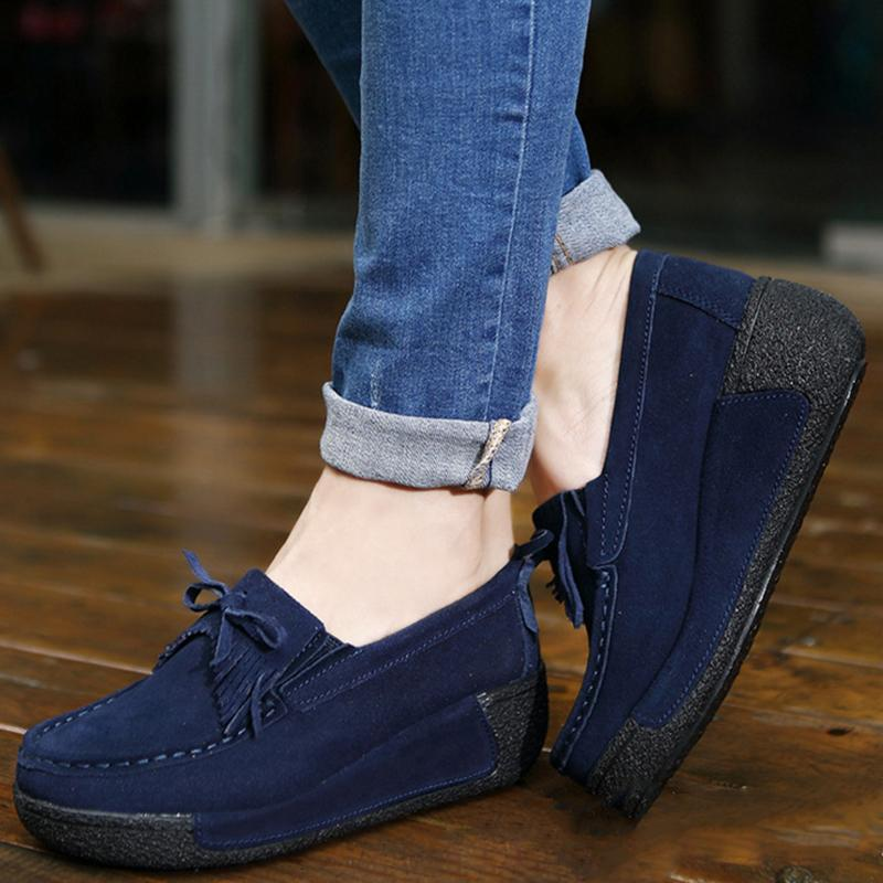 Soft Bowknot Round Toe Leather Platform Heel Loafers For Women - fashionshoeshouse