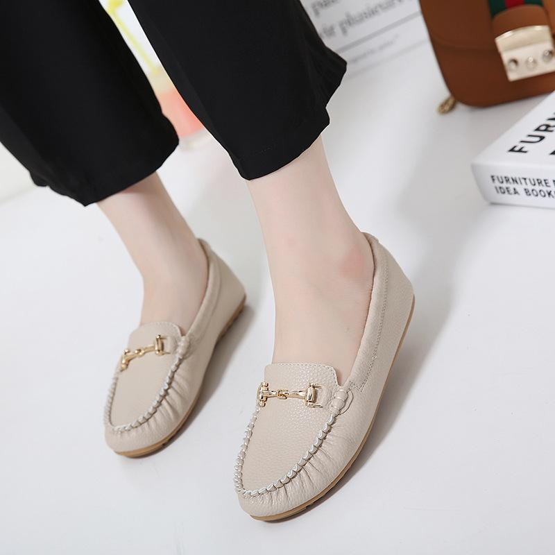 Popular Metal Decorated Ballet Flats Round Toe Navy Flat Shoes For Women - fashionshoeshouse