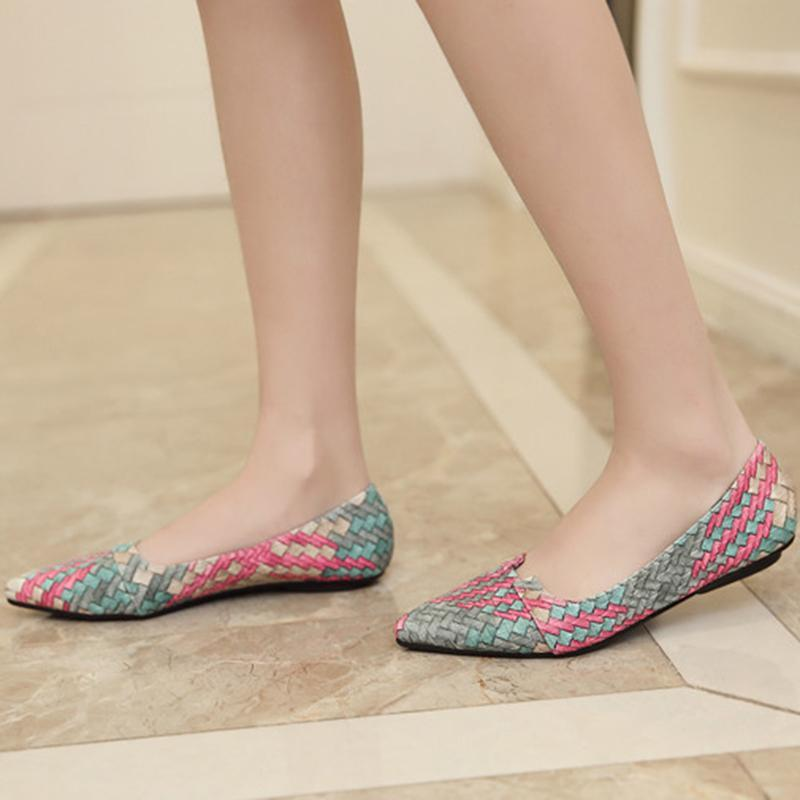 Colorful Woven Pointed Toe Shallow Chic Flat Shoes For Women - fashionshoeshouse