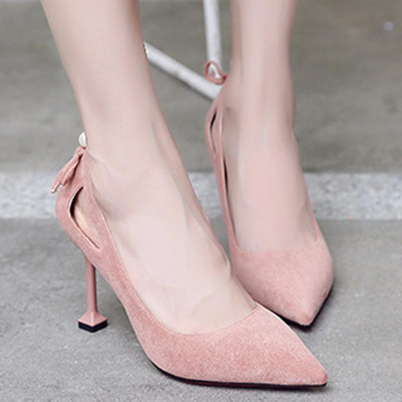 2 Inch Height Faux Pearl Suede Pink Heels For Women - fashionshoeshouse