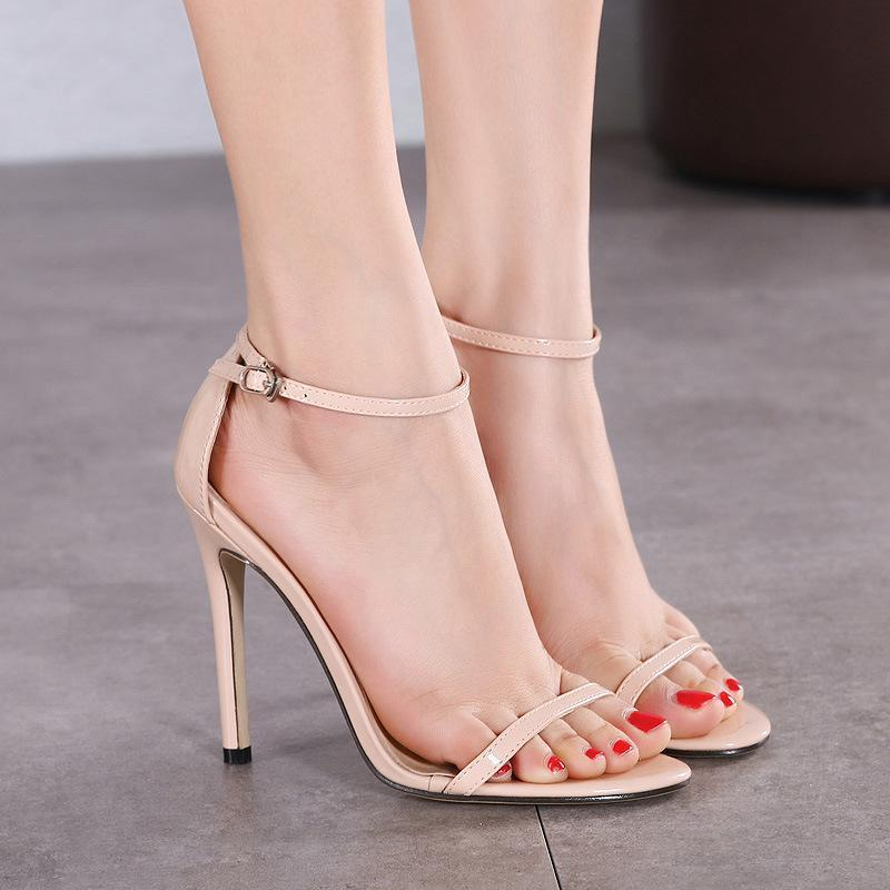 Classical Big Size Patent Open Toe Women Sandals - fashionshoeshouse