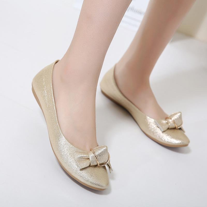 Shining Pure Color Bowknot Blue Flat Shoes For Women - fashionshoeshouse