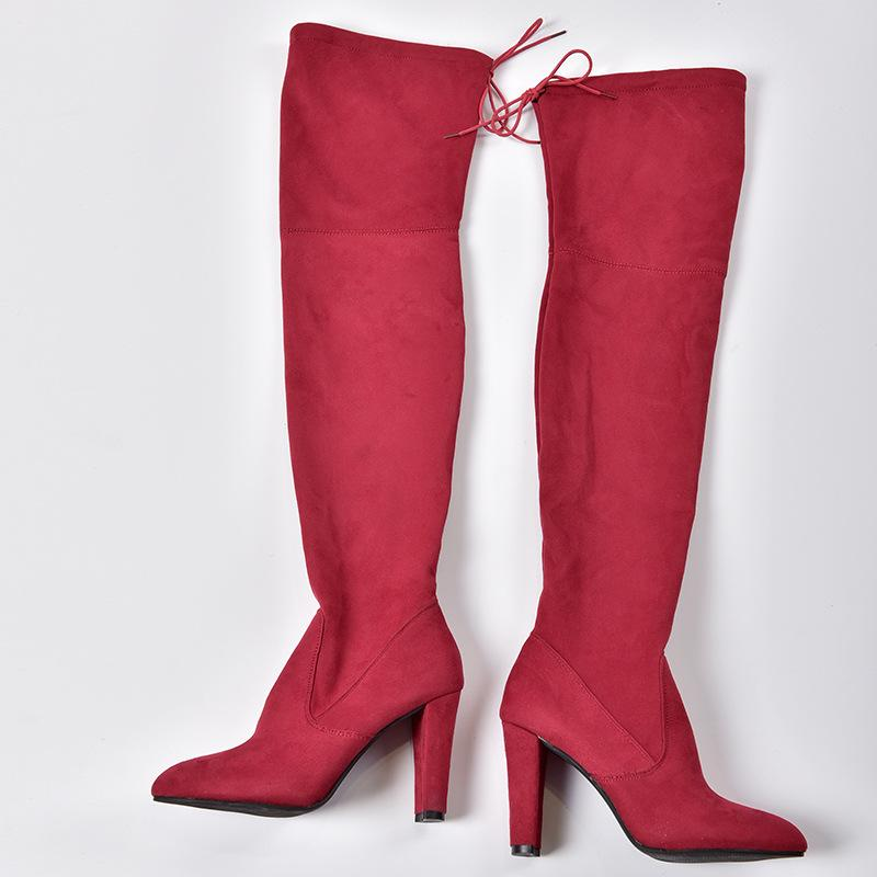 Women Elastic Zipper Pointed Toe Chunky Suede Over The Knee Boots - fashionshoeshouse