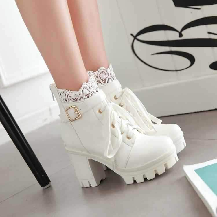 Ankle Strap Laces Chunky Heel England Style Lace Up Boots - fashionshoeshouse