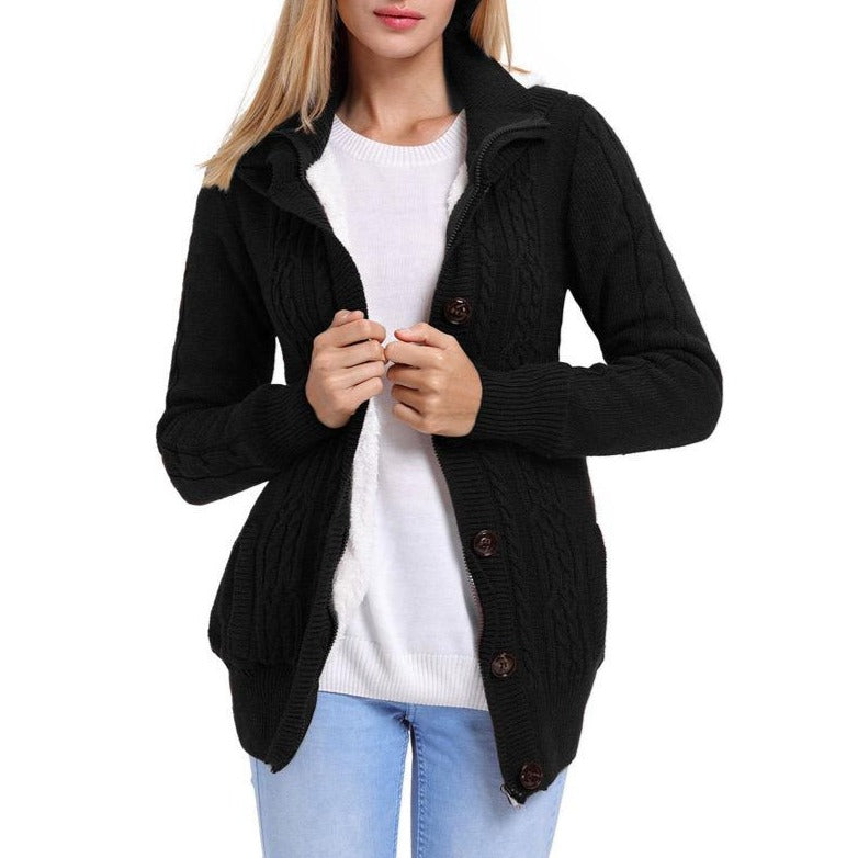 Women Hoodie Loose Button Knit  Keep Warm Fur Coat - fashionshoeshouse