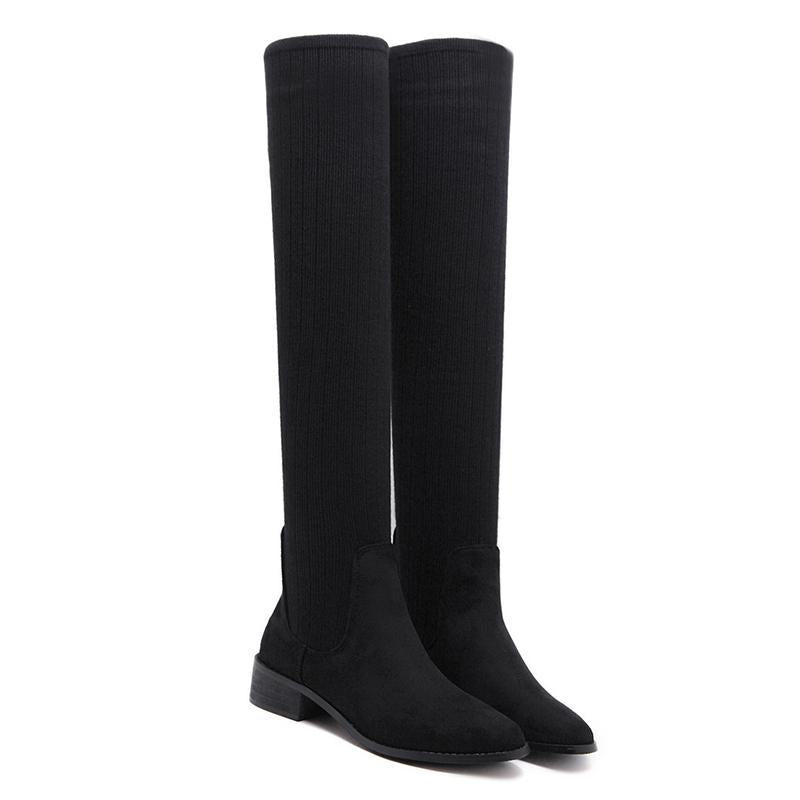 Knee High Boots Round Toe High Heel Sock Boots For Women - fashionshoeshouse