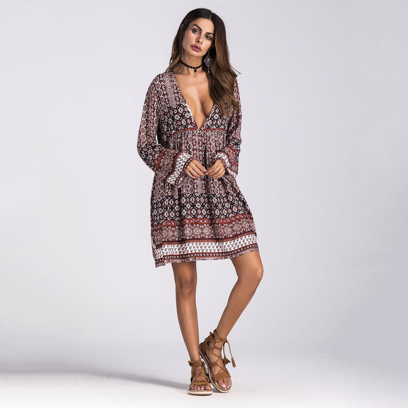 Bohemia V Neck Long Sleeve Autumn Print Dress - fashionshoeshouse