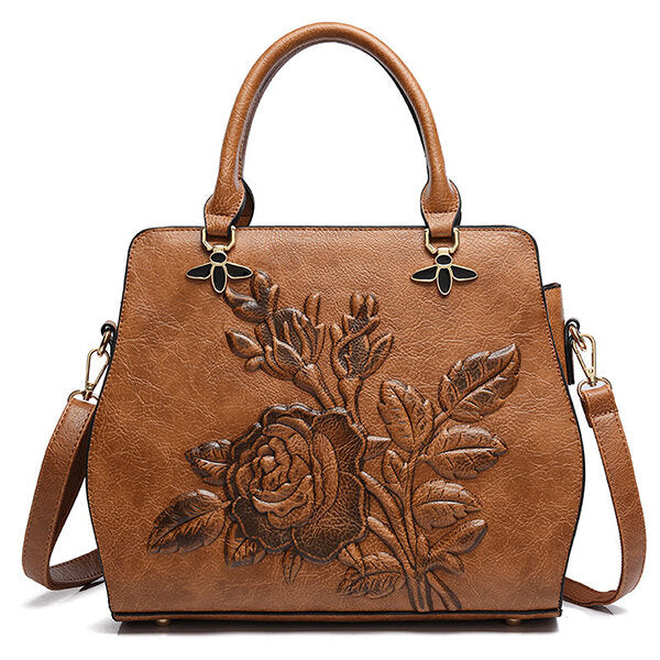 Rose Embroidery Women Handbag Elegant Tote Bag Crossbody Bag - fashionshoeshouse