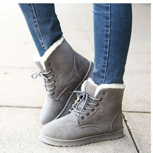 Women's winter warm fluffy snow boots low heel lace-up ankle boots