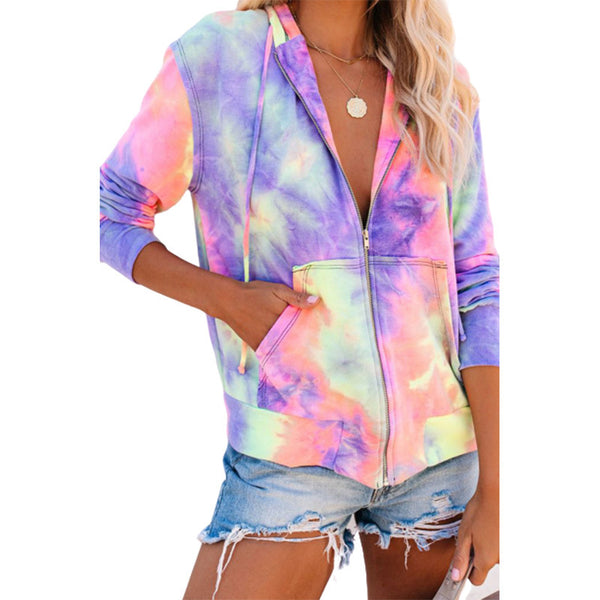 Fashion tie dye zip up hoodie drawstring hooded sweatshirt