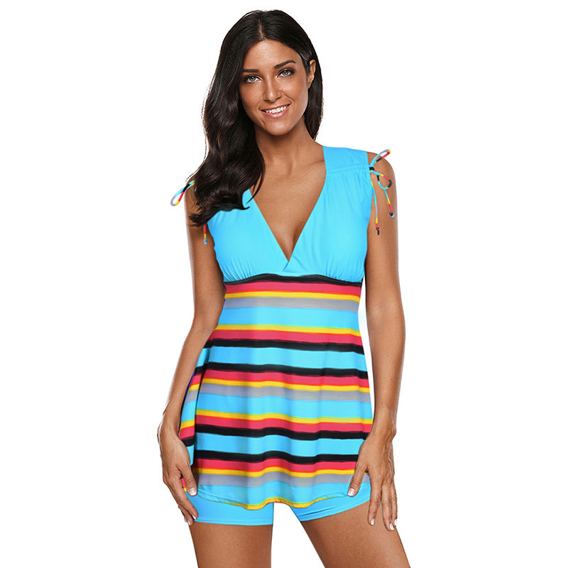 Holiday Spa Cover Belly Striped Two Piece Swimsuits - fashionshoeshouse